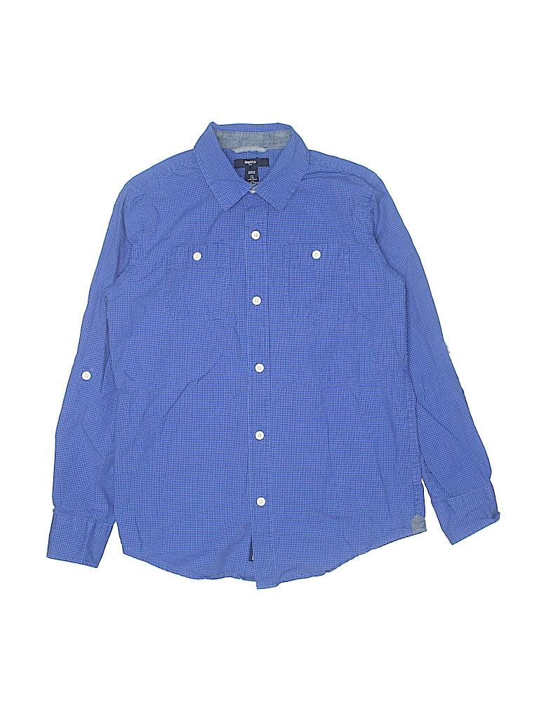 837a127aa Gap Kids 100% Cotton Solid Dark Blue Long Sleeve Button-Down Shirt ...