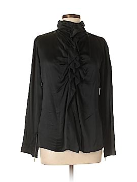 Gold Hawk Long Sleeve Silk Top Size L