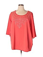 Catherines Women 3/4 Sleeve T-Shirt Size 1X (Plus)