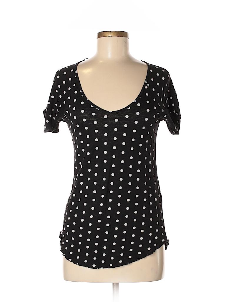 543ad3ad Zara 100% Linen Polka Dots Black Short Sleeve T-Shirt Size M - 50 ...