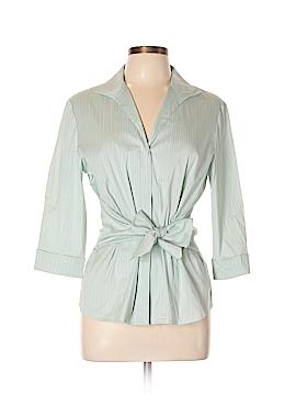 Lafayette 148 New York 3/4 Sleeve Button-Down Shirt Size 10