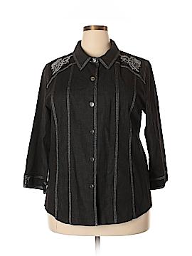 Susan Graver Long Sleeve Button-Down Shirt Size XL
