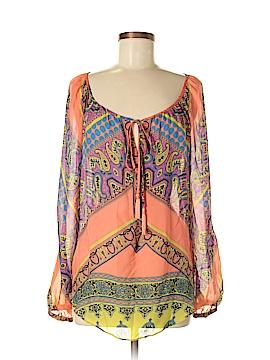 Hale Bob Long Sleeve Silk Top Size M