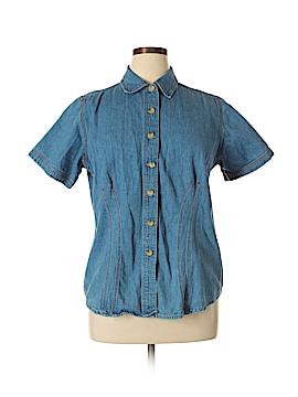 Carolina Blues Short Sleeve Button-Down Shirt Size 14