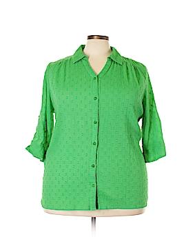 D&Co. 3/4 Sleeve Button-Down Shirt Size 2X (Plus)