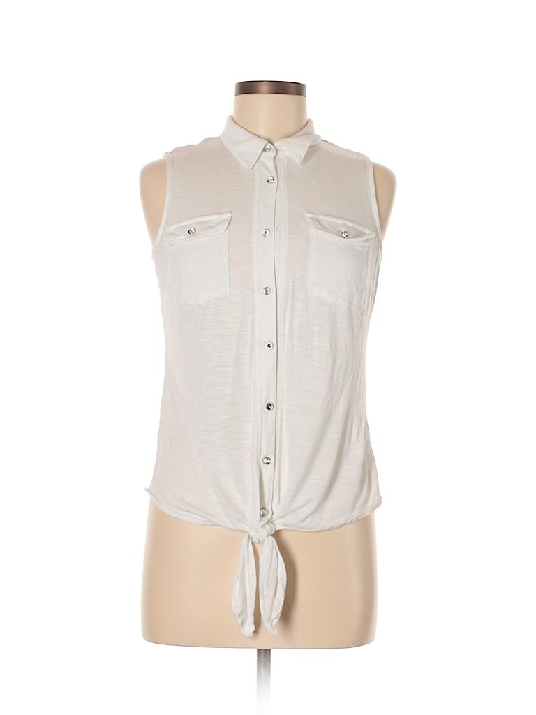 INC International Concepts Women Sleeveless Button-Down Shirt Size M