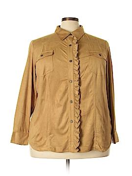 Susan Graver Long Sleeve Button-Down Shirt Size 2X (Plus)