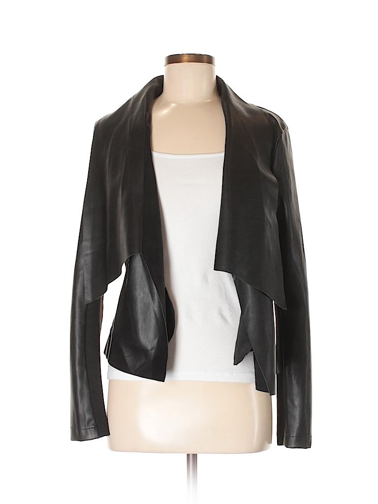 7aa22060830 Harve Benard 100% Polyurethane Solid Black Faux Leather Jacket Size ...
