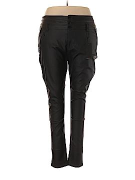 Chic Denim Faux Leather Pants Size 24 (Plus)