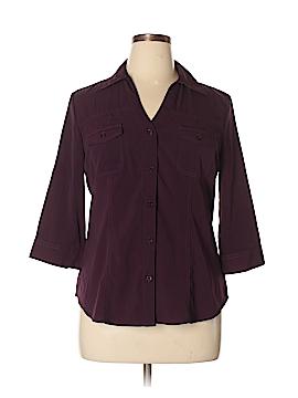 PASSPORTS 3/4 Sleeve Button-Down Shirt Size L