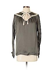 Pepin Women Long Sleeve Silk Top Size XS