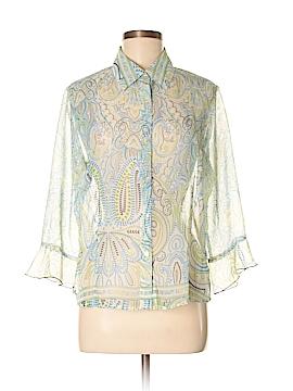 Nicola 3/4 Sleeve Button-Down Shirt Size M