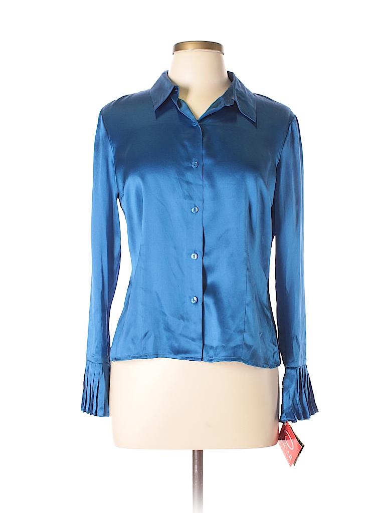 10ef25019c152 Miss O by Oscar de la Renta 100% Silk Blue Long Sleeve Silk Top Size ...