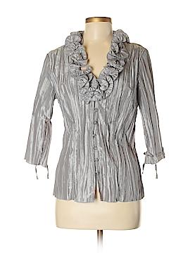 Harve Benard 3/4 Sleeve Button-Down Shirt Size M
