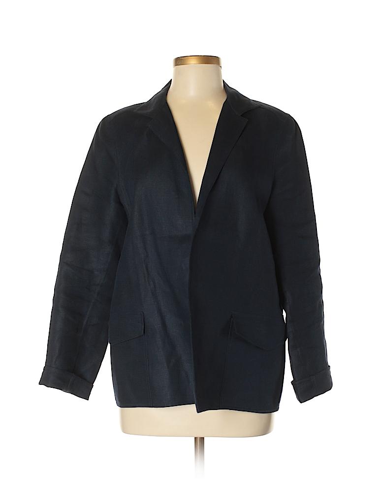 dab306126c Linda Allard Ellen Tracy 100% Linen Solid Dark Blue Jacket Size 8 ...