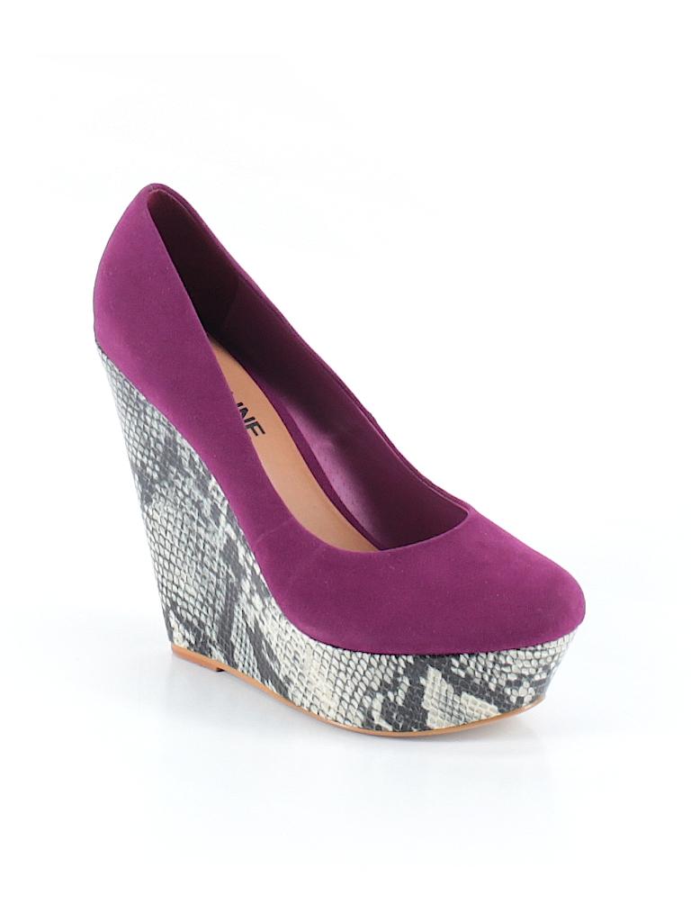 Madeline Girl Animal Print Color Block Purple Wedges Size 8 74