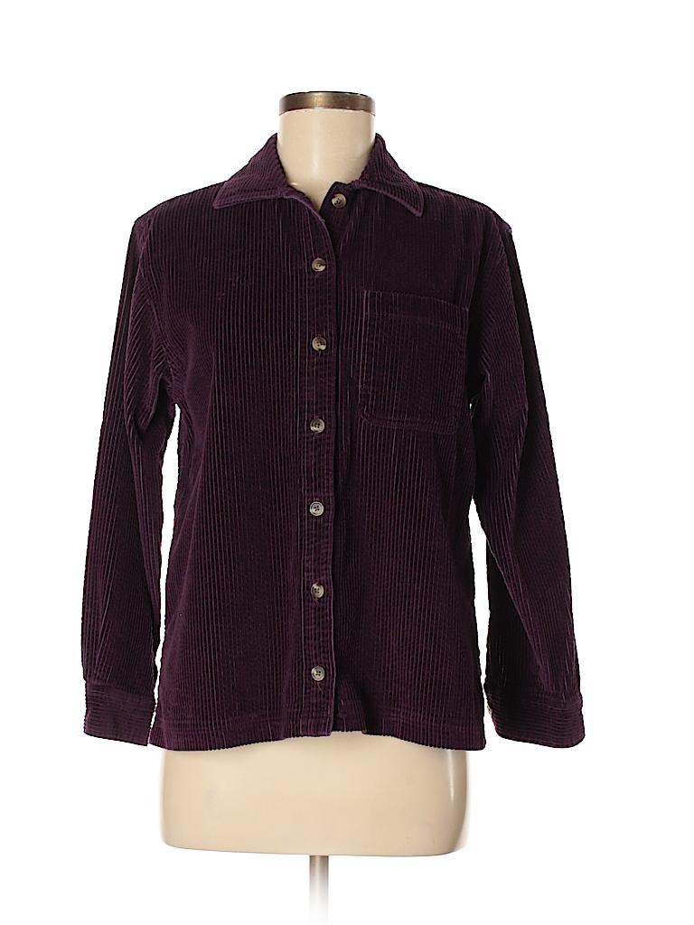 L L Bean 100 Cotton Solid Dark Purple Long Sleeve Blouse Size Xs