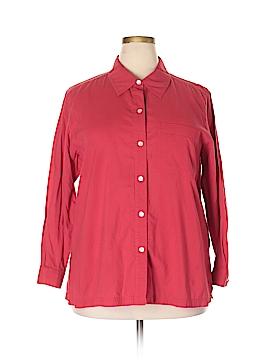 So Blue Sigrid Olsen Long Sleeve Button-Down Shirt Size 1X (Plus)