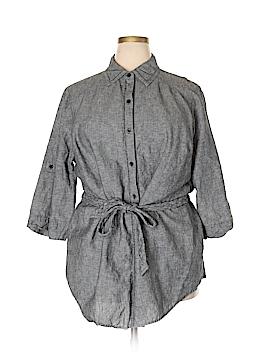 Dana Buchman 3/4 Sleeve Button-Down Shirt Size 2X (Plus)