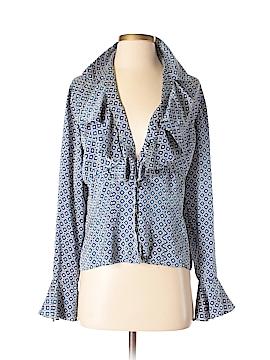 AK Anne Klein Long Sleeve Silk Top Size 8