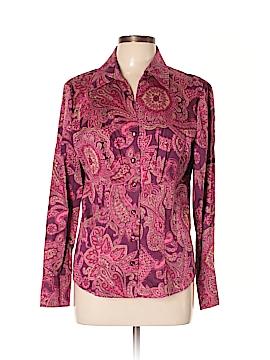 Jones New York Signature Long Sleeve Button-Down Shirt Size L