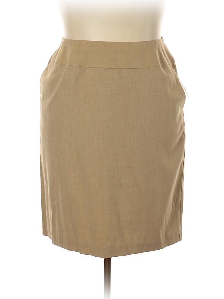 d67c67683f6 Talbots Solid Tan Wool Skirt Size 18 (Plus) - 78% off