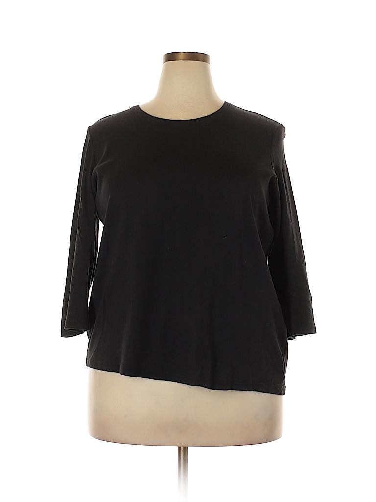 f2dbc340b97 Laura Scott 100% Cotton Solid Black 3 4 Sleeve T-Shirt Size 1X (Plus ...