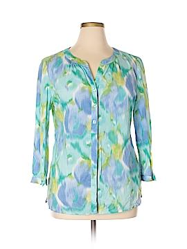 Peck & Peck Long Sleeve Button-Down Shirt Size 14