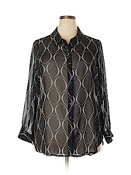 Susan Graver Long Sleeve Button-Down Shirt Size 20 (Plus)