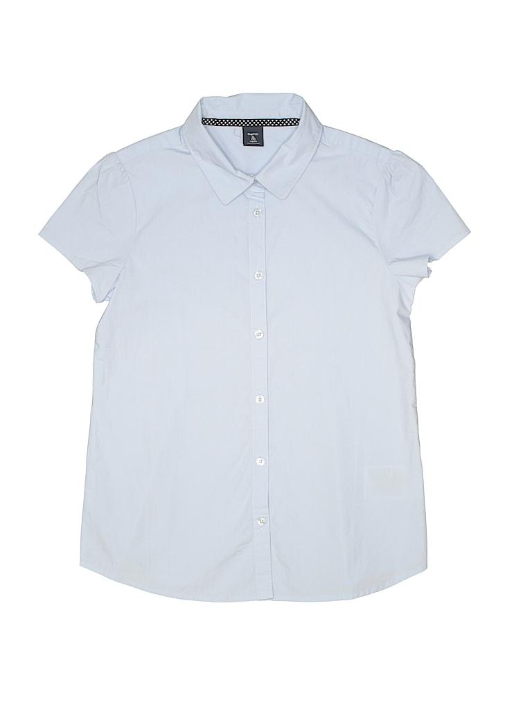 2769c56f35d Gap Kids 100% Cotton Solid Light Blue Short Sleeve Button-Down Shirt ...