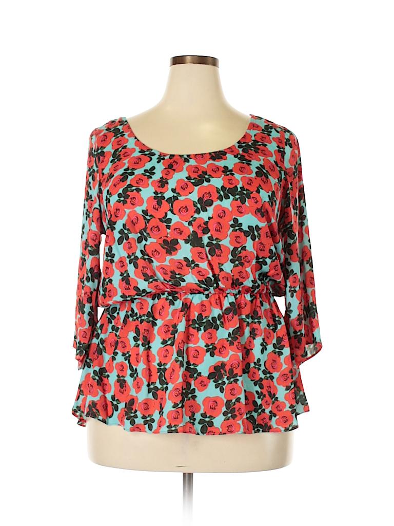City Chic Women 3/4 Sleeve Blouse Size 12 Plus (XS) (Plus)