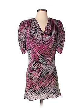 Flounce Short Sleeve Silk Top Size M