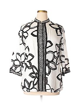 Laura Ashley 3/4 Sleeve Button-Down Shirt Size L