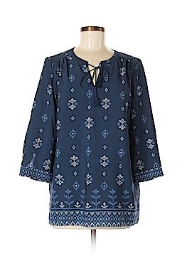 Fleur bleue 3/4 Sleeve Button-Down Shirt Size M
