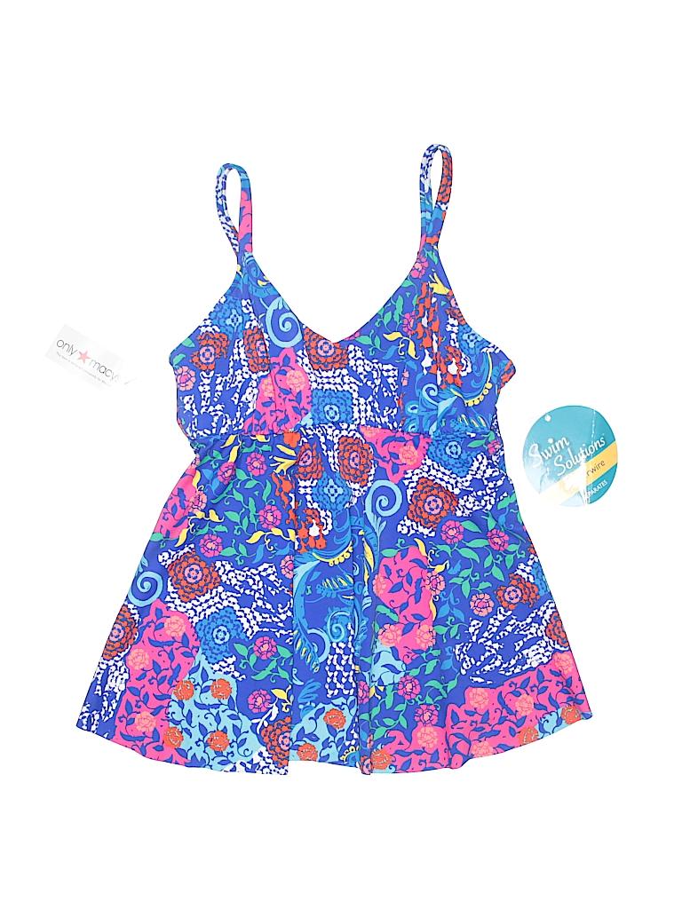 4431aa3c9e Swim Solutions Print Dark Blue Swimsuit Top Size 8 - 37% off