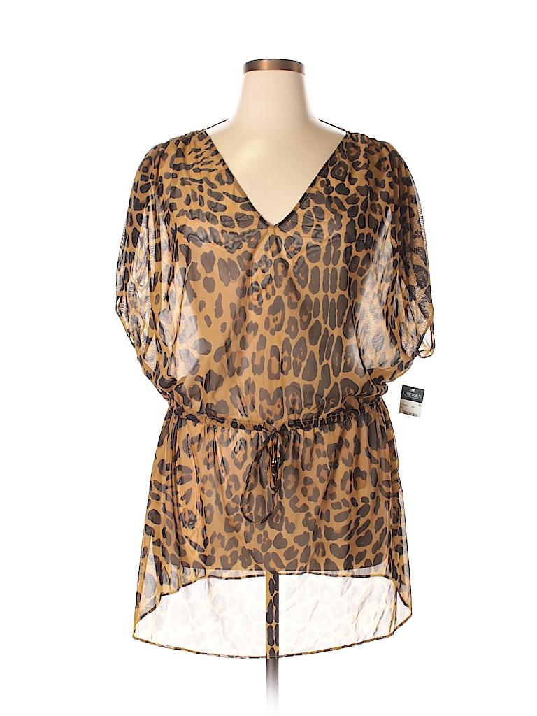 48e40aa950 Lauren by Ralph Lauren Animal Print Brown Swimsuit Cover Up Size XL ...