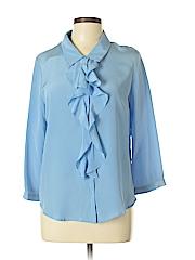 Yoana Baraschi Women Long Sleeve Silk Top Size L