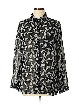 Ganni Long Sleeve Button-Down Shirt Size L