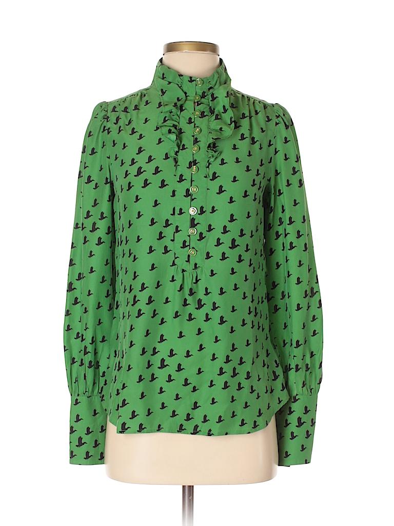 9d8e60fb750507 Juicy Couture 100% Silk Print Dark Green Long Sleeve Silk Top Size 2 ...