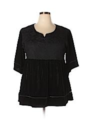 Suzanne Betro Women Short Sleeve Top Size 1X (Plus)