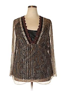 Karen Kane Long Sleeve Silk Top Size 1X (Plus)