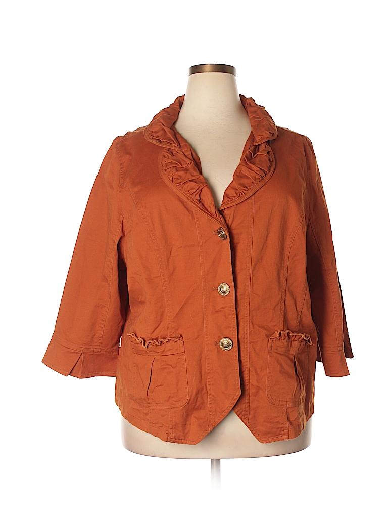 152d252b150ed DressBarn Solid Orange Jacket Size 22 - 24 (Plus) - 62% off