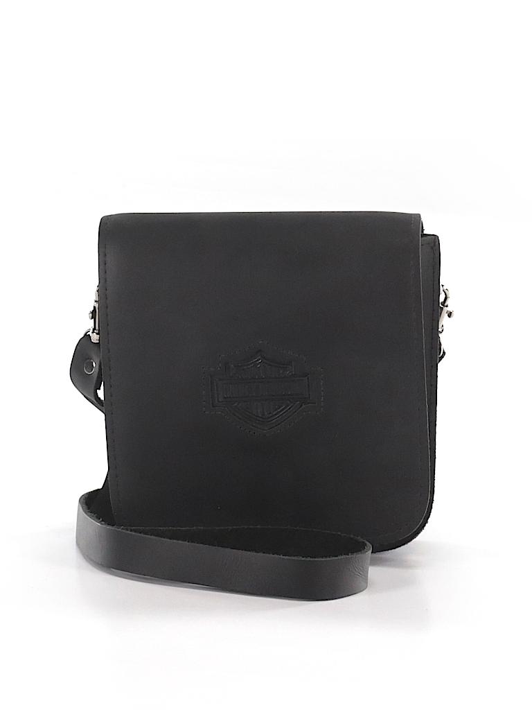 08672b9abd72 Harley Davidson 100% Leather Solid Black Leather Crossbody Bag One ...