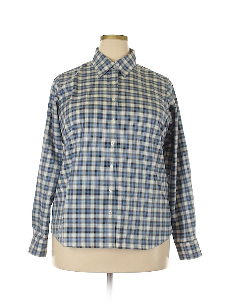 0a3e2156d44 Lands  End 100% Cotton Plaid Dark Blue Long Sleeve Button-Down Shirt ...