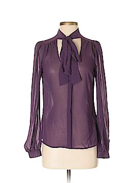 Lavender Brown Long Sleeve Blouse Size XS
