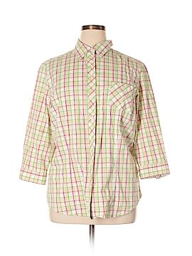Sag Harbor 3/4 Sleeve Button-Down Shirt Size 1X (Plus)