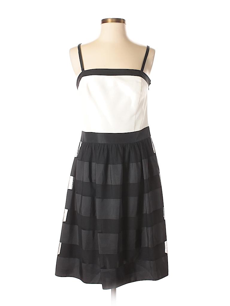 9d4230327c White House Black Market 100% Silk Stripes Color Block Black ...