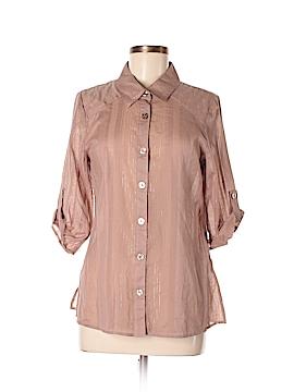 Hillard & Hanson 3/4 Sleeve Button-Down Shirt Size M