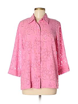 Sag Harbor 3/4 Sleeve Button-Down Shirt Size M