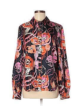 Pink Tartan Long Sleeve Silk Top Size 8